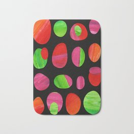 Painted Shapes Collage - Red, Green, Pink and Orange Pattern Bath Mat