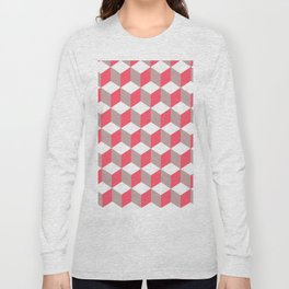 Diamond Repeating Pattern In Poppy and Soft Grey Long Sleeve T-shirt
