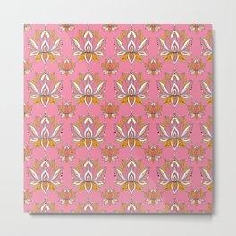 Lotus Mandala Doodle Pink Pattern Metal Print