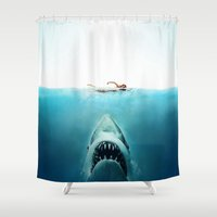 jaws Shower Curtains featuring JAWS by Smart Friend