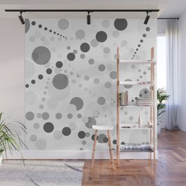 Black and gray circles on white background Wall Mural