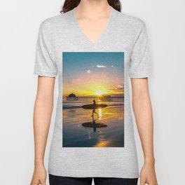 Surf City USA - Little Surfer Girl Unisex V-Neck