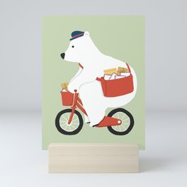 Polar bear postal express Mini Art Print