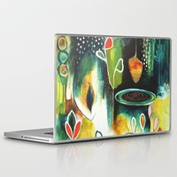 "flora bowley Laptop & iPad Skins featuring ""Deep Growth"" Original Painting by Flora Bowley by Flora Bowley"