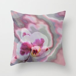 Pink, purple abstract spotted orchid Throw Pillow