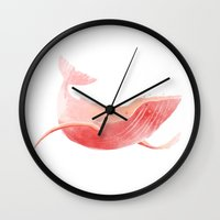 the whale Wall Clocks featuring Whale by Adara Sánchez Anguiano