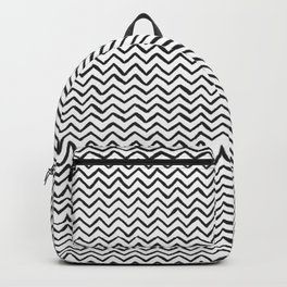 Black & White Hand-drawn ZigZag Pattern Backpack
