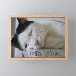 Sleepy kitty Framed Mini Art Print
