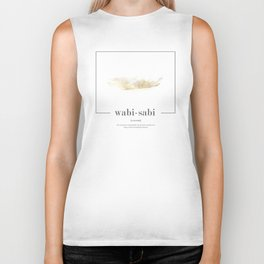 wabi sabi classic with golden watercolor Biker Tank