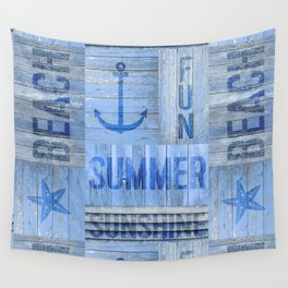 Blue Summer Beach Wood Wall Tapestry