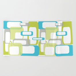 Mid-Century Modern Rectangle Design Blue Green and Gray Beach Towel