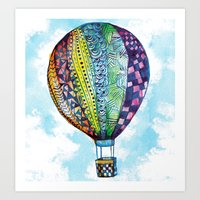hot air balloon Art Prints featuring Hot Air Balloon by Emily Stalley