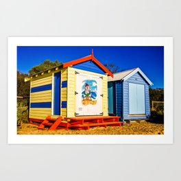 Iconic brightly coloured wooden beach huts from the early 1900s. Brighton Beach. Melbourne. Aust Art Print