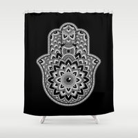 hamsa Shower Curtains featuring Hamsa by Black Sheep