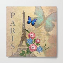 Eiffel Tower & Feminine Accents Metal Print