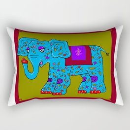 Blue Elephant with Pink Fleur de Lis Rectangular Pillow