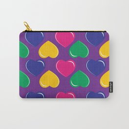 pattern with colorful hearts on purple background Carry-All Pouch