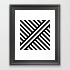 B/W two way diagonal stripes Framed Art Print
