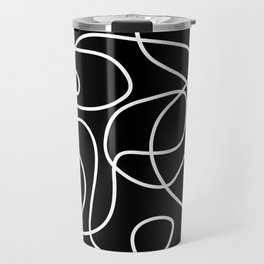 Doodle Line Art | White Lines on Black Travel Mug