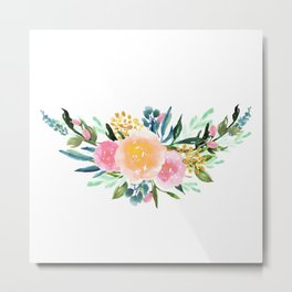 Bouquet OF flowers PINK AND YELLOW - PAINTED - watercolor Metal Print