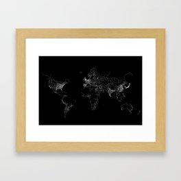 World map Lines Framed Art Print