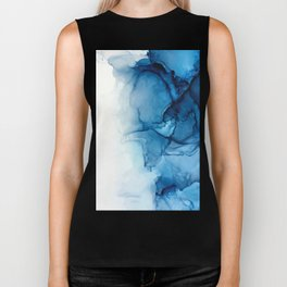 Blue Tides - Alcohol Ink Painting Biker Tank