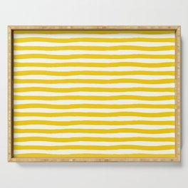 Yellow And White Horizontal Stripes Serving Tray