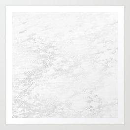 White Marble Silver Glitter Gray Art Print