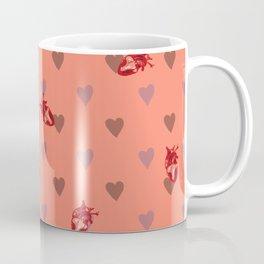 Orange Heart Pattern Coffee Mug