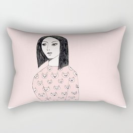 Cat sweater girl Rectangular Pillow