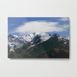Alps Snowy Mountain Ridges Spring Metal Print