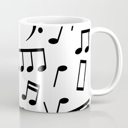 Dancing Black Music Notes on White Background Coffee Mug