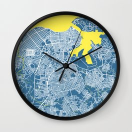 LA HABANA Map Cuba | Blue | More Colors, Review My Collections Wall Clock