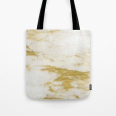 Marble - Shimmery Gold Marble and White Tote Bag