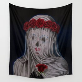 Day Of The Dead Veiled Bride Wall Tapestry