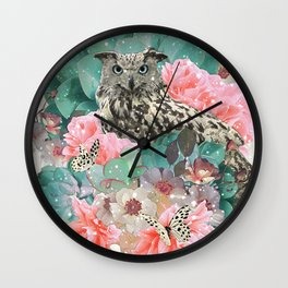 FLORAL OWL Wall Clock