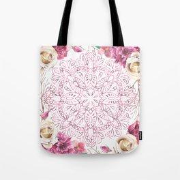Mandala Rose Garden Pink on White Tote Bag