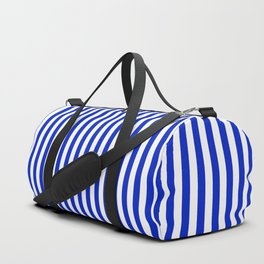 Cobalt Blue and White Vertical Deck Chair Stripe Duffle Bag