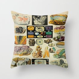 Minerals Vintage Scientific Illustration French Language Encyclopedia Lithographs Educational Diagra Throw Pillow