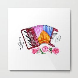 Accordion with pink roses Metal Print