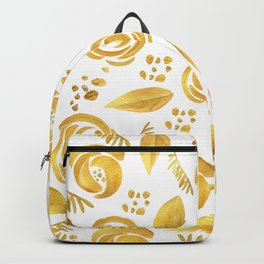 Hand painted faux gold white elegant floral pattern Backpack
