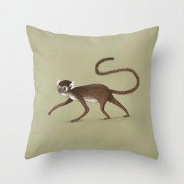 Squirrel Monkey Walking Throw Pillow