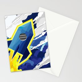 flyng rocket in space Stationery Cards