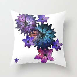 Space Flowers Throw Pillow