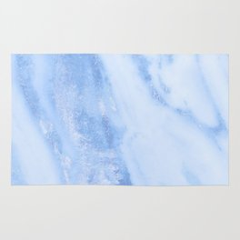 Shimmery Pure Cerulean Blue Marble Metallic Rug