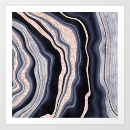 Modern agate geode navy blue rose gold glitter marble pattern Art Print