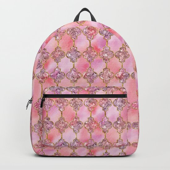Luxury Gold and Pink Glitter effect oriental pattern on #Society6 Backpack