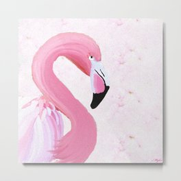 PINK FLAMINGO AND ORCHID OIL PAINTING Metal Print
