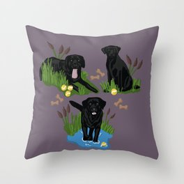 Collection of Black Labs  Throw Pillow