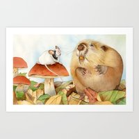 beaver Art Prints featuring Mouse & Beaver by Patrizia Donaera ILLUSTRATIONS